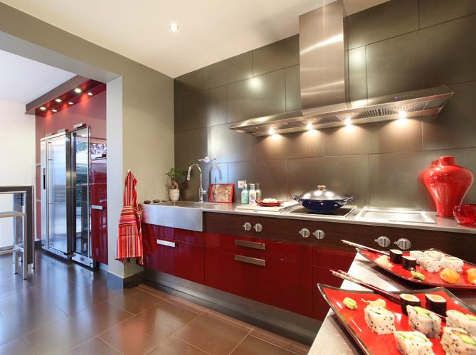Cuisine rouge laquee avec des id es - Cuisine rouge laque ...